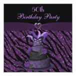 "Diva Cake & Printed Zebra Glitter 50th Birthday 5.25"" Square Invitation Card"