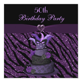 Diva Cake & Printed Zebra Glitter 50th Birthday Card