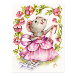 Diva - Cute Musical Mouse Art Postcard