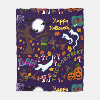 Diva Dachshund's Halloween Fleece Blanket