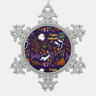 Diva Dachshund's Halloween Snowflake Pewter Christmas Ornament