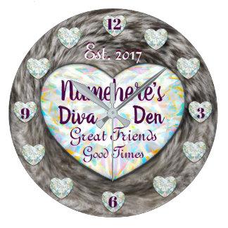 Diva Den Diamonds and Fur Clock! Large Clock