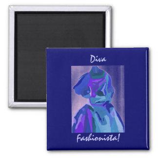 Diva Fashionista In Blue I Fridge Magnet