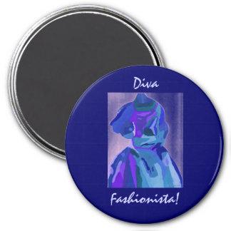 Diva Fashionista In Blue I Magnets