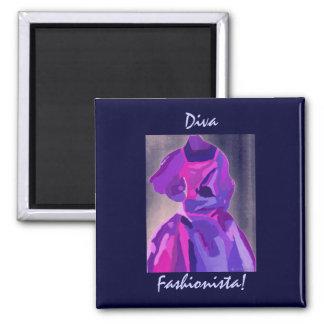Diva Fashionista In Blue Magnet