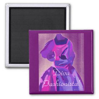 Diva Fashionista In Blue Refrigerator Magnet