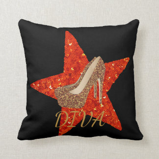 Diva Gold Glitter High Heel Shoes   Glam Red Star Throw Pillow