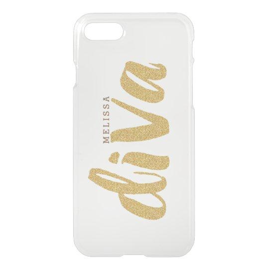 Diva Gold Glitter Text Design Monogram iPhone 7 Case