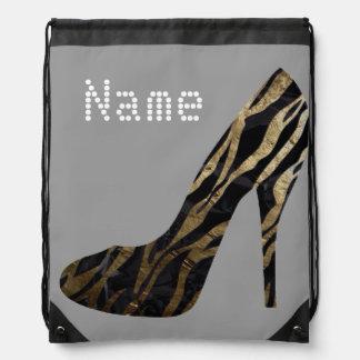 DIVA heels Zebra Gold Drawstring Bag