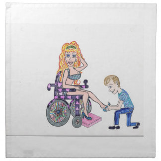 Diva in a wheel-chair with her Man at her feet Cloth Napkin