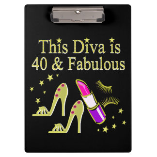 DIVA IS 40 AND FABULOUS GOLD HIGH HEEL DESIGN CLIPBOARD