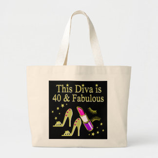 DIVA IS 40 AND FABULOUS GOLD HIGH HEEL DESIGN LARGE TOTE BAG