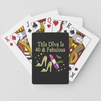 DIVA IS 40 AND FABULOUS GOLD HIGH HEEL DESIGN PLAYING CARDS