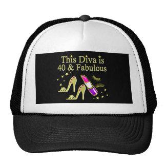 DIVA IS 40 AND FABULOUS GOLD HIGH HEEL DESIGN TRUCKER HAT