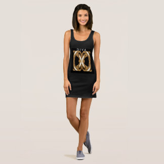 DIVA Jersey Tank Dress- Gold/Black/White