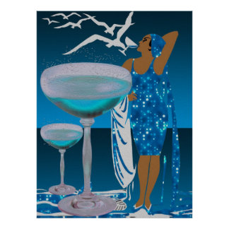 Diva LADY Teal Blue Champagne Poster