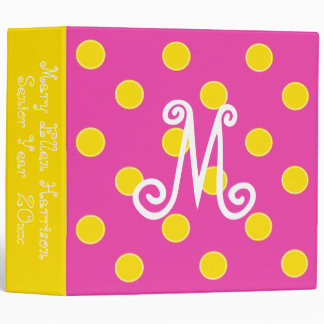 Diva Pink and Bright Yellow Polka Dot Monogram Binder
