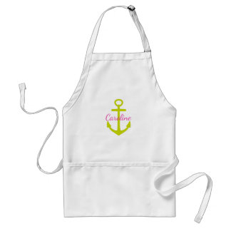 Diva Pink and Lime Green Anchor Personalized Standard Apron