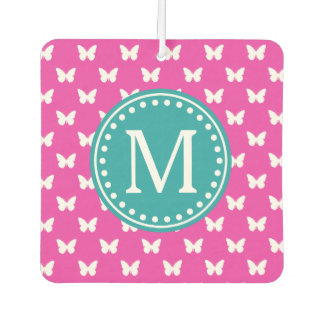 Diva Pink and Turquoise Butterfly Monogram Car Air Freshener