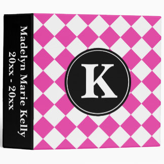 Diva Pink and White Diagonal Tiles with Black 3 Ring Binder