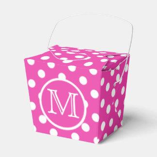 Diva Pink and White Polka Dot Monogram Wedding Favor Box