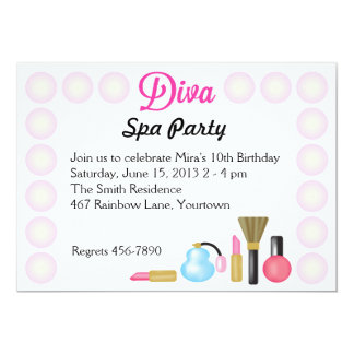 Diva Spa Birthday Party Invitations