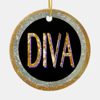 Diva Sparkle Ceramic Ornament