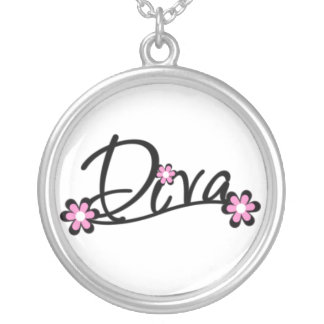 Diva with Pink Flowers Silver Plated Necklace