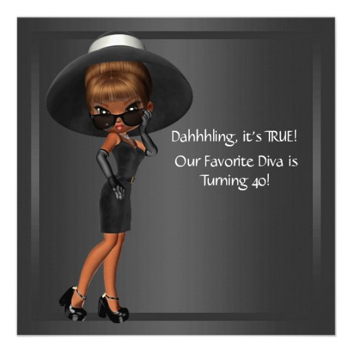 Diva Womans African American 40th Birthday Party Custom Announcement