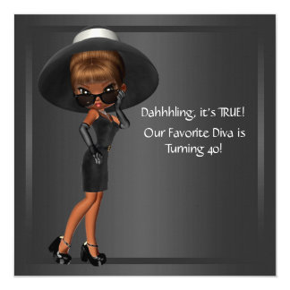 "Diva Womans African American Birthday Party 5.25"" Square Invitation Card"