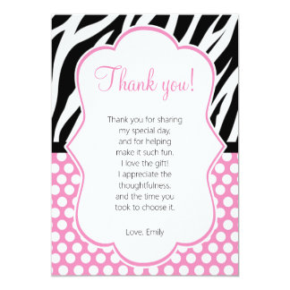 Diva Zebra Pink Thank You Card