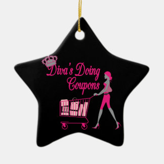 Diva's Does Coupons Ceramic Ornament