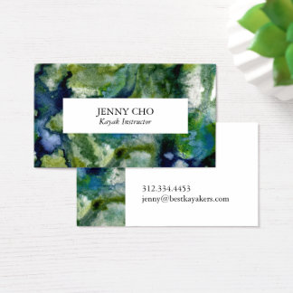 Dive deep in the blue green of this business card