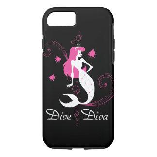 """Dive Diva"" Pink Mermaid iPhone 7 case (black)"