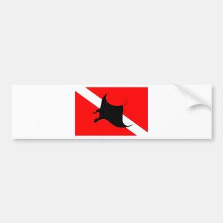 Dive Flag Manta Ray Bumper Sticker