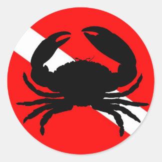 Dive Flag Stone Crab Classic Round Sticker