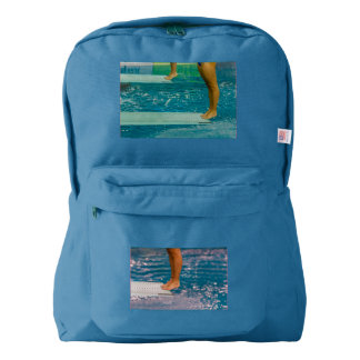 dive from diving board on backpack