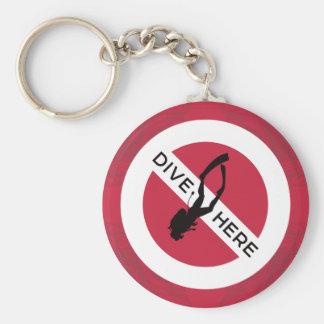 Dive Here Keychain