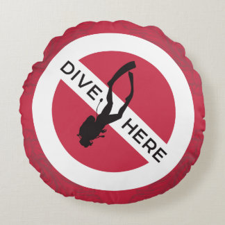 Dive Here Round Pillow