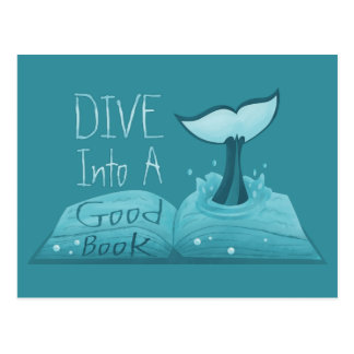 Dive into a Good Book Postcard
