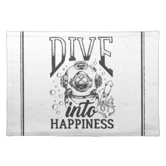 Dive into happiness motivational scuba diving placemat