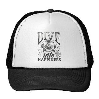 Dive into happiness motivational scuba diving trucker hat