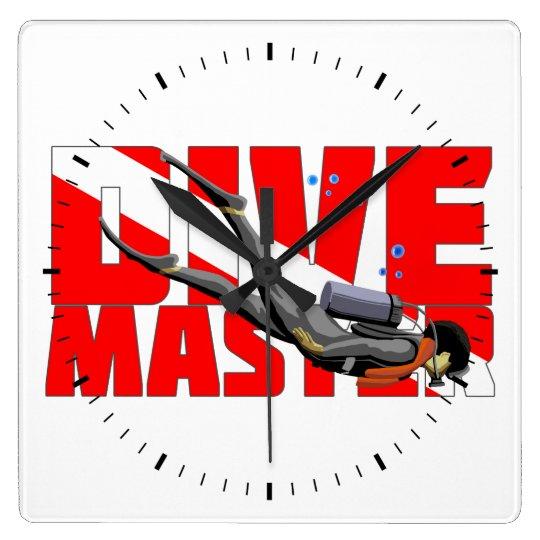 Dive Master Square Wall Clock