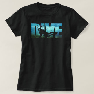 DIVE Scuba Diving Womens Black T-Shirt