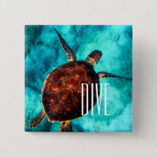 Dive Sea Turtle 2 Inch Square Button