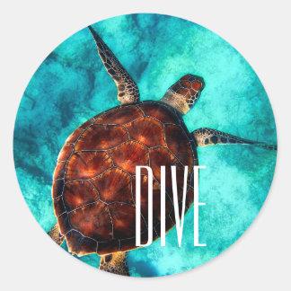 Dive Sea Turtle Classic Round Sticker