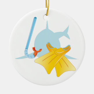 Dive Shark Ceramic Ornament