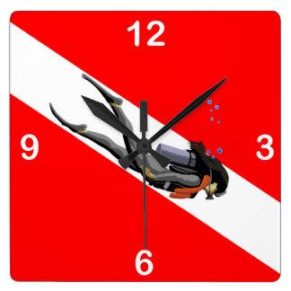 Diver And Dive Flag Clocks