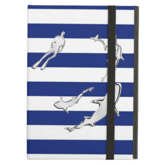 Diver and Sharks Silhouettes on Nautical Stripes iPad Air Covers