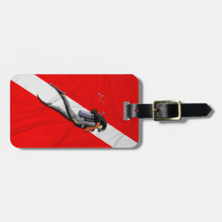 Diver And Wrinkled Dive Flag Bag Tag